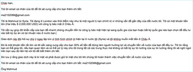 Email của các đối tượng lừa đảo mới