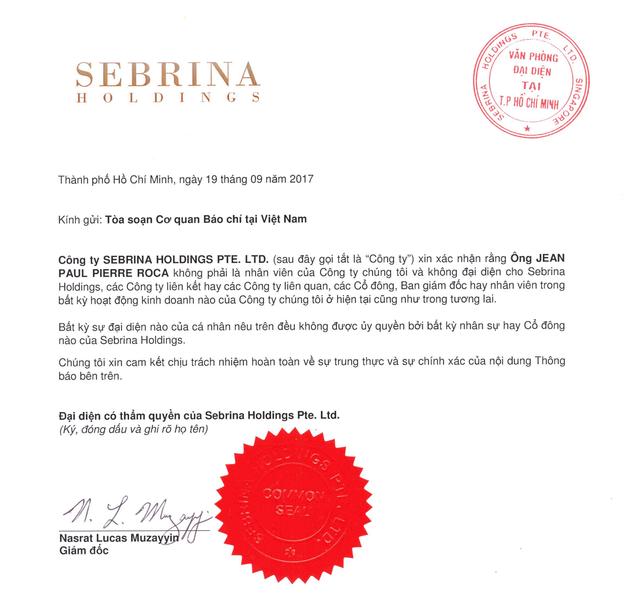 Công ty Sebrina Holdings PTE thông báo bãi trừ trách nhiệm nhân viên - 1