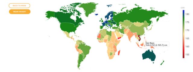 Chiều cao của nam giới Việt Nam đang thuộc nhóm thấp nhất trên thế giới