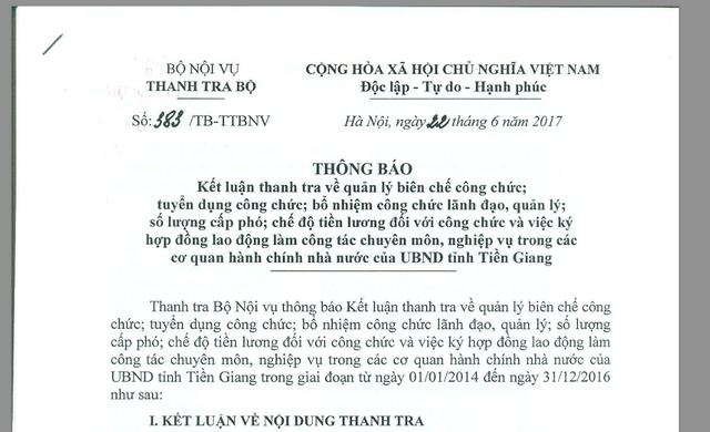 Thanh tra Bộ Nội vụ chỉ rõ những vi phạm trong tuyển dụng công chức tại tỉnh Tiền Giang