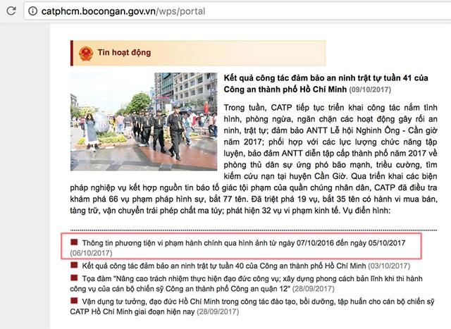 Thông tin về xe vi phạm hành chính tại Tp Hồ Chí Minh đăng tải trên trang web vào ngày 6/10/2017 vừa qua