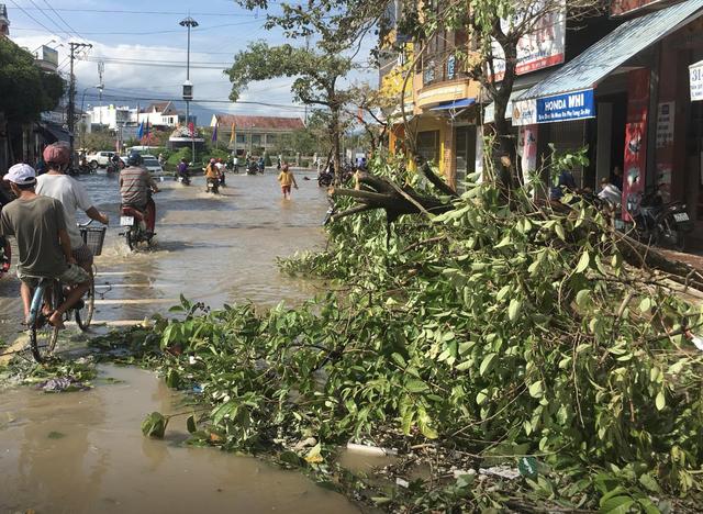 Sáng 5/11, chợ Dinh Ninh trở nên tan hoang, sau một đêm bị bão số 12 càn quét,