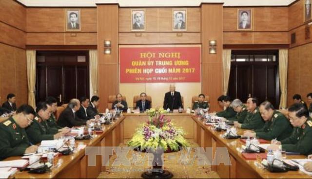 Tổng Bí thư Nguyễn Phú Trọng chủ trì Hội nghị Quân ủy Trung ương, phiên cuối năm 2017
