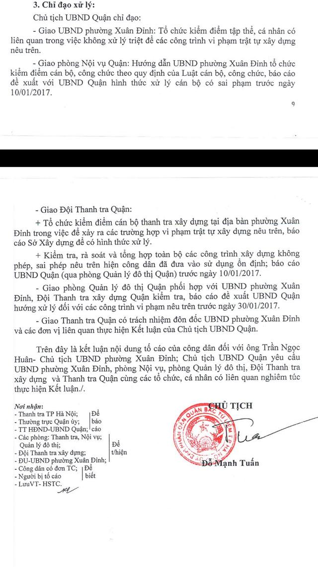 Kết luận thanh tra đã được UBND quận Bắc Từ Liêm công khai nhưng Chủ tịch UBND phường Xuân Đỉnh nói vẫn chưa nhận được (?).