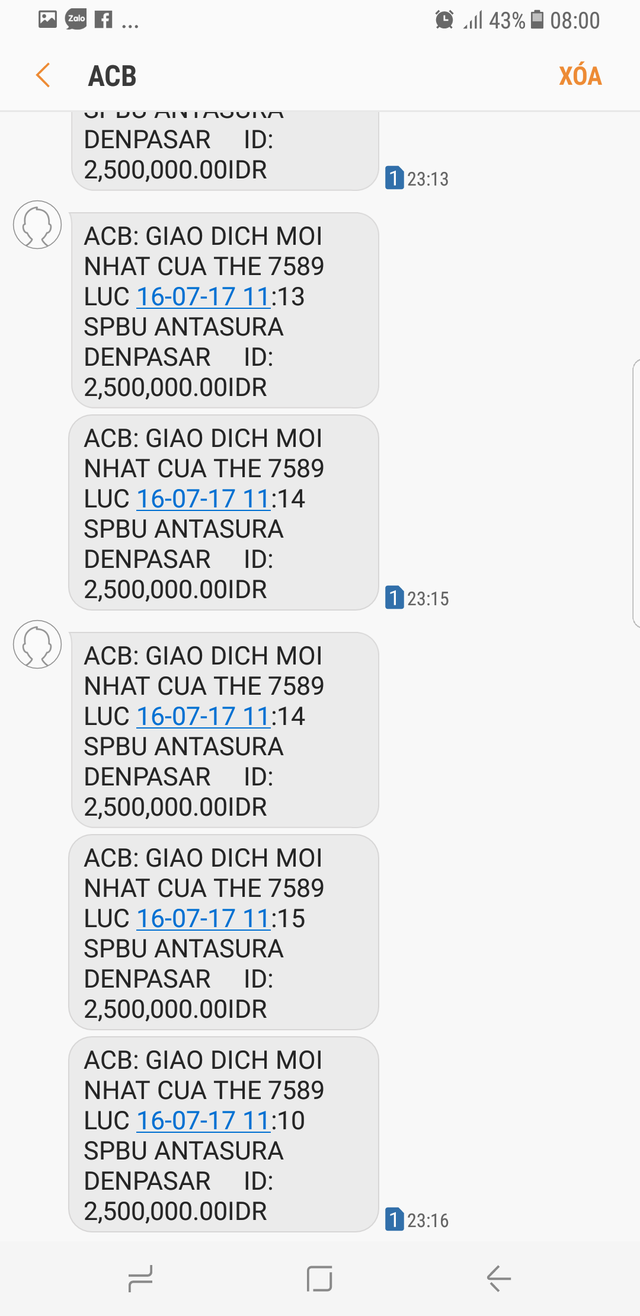 Mặc dù đang giữ thẻ và đang ở Đà Nẵng nhưng tài khoản của anh Phúc bị rút tiền tại Indonesia