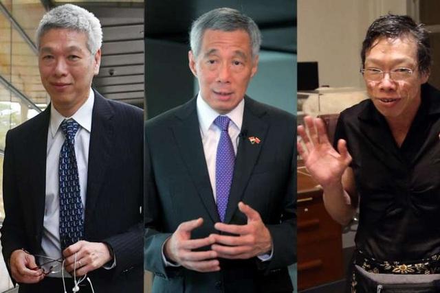 Từ trái qua phải: Ông Lý Hiển Dương, Thủ tướng Lý Hiển Long và bà Lý Vỹ Linh (Ảnh: Straitstimes)