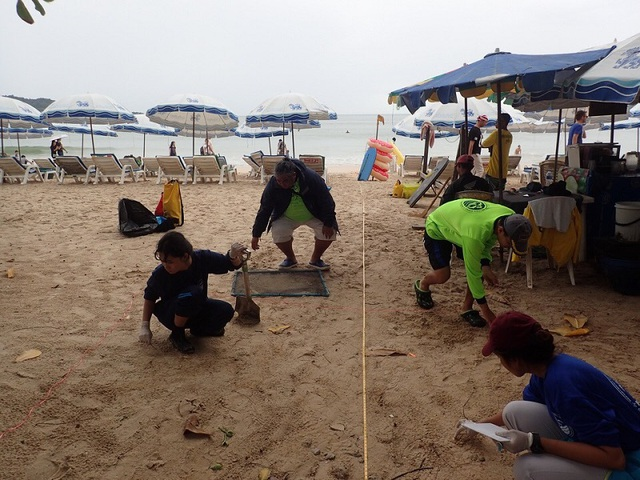 Đội thu dọn các mẩu thuốc lá cũ trên bãi biển