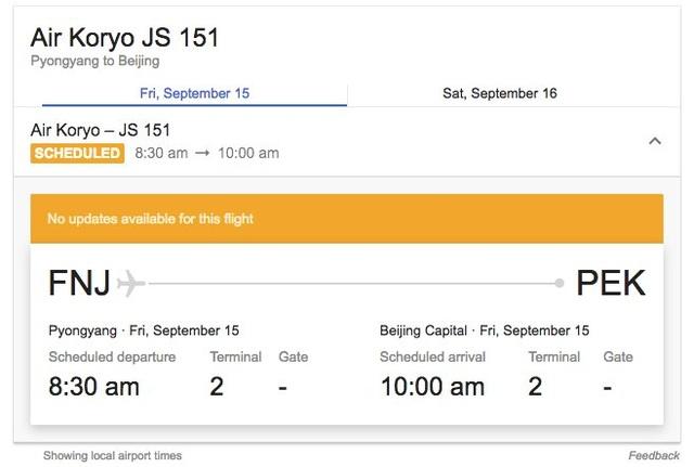 Chuyến bay của hãng hàng không Air Koryo cất cánh từ sân bay Sunan khoảng hơn 1 tiếng sau khi Triều Tiên phóng tên lửa qua Nhật Bản sáng 15/9. (Ảnh: Telegraph)