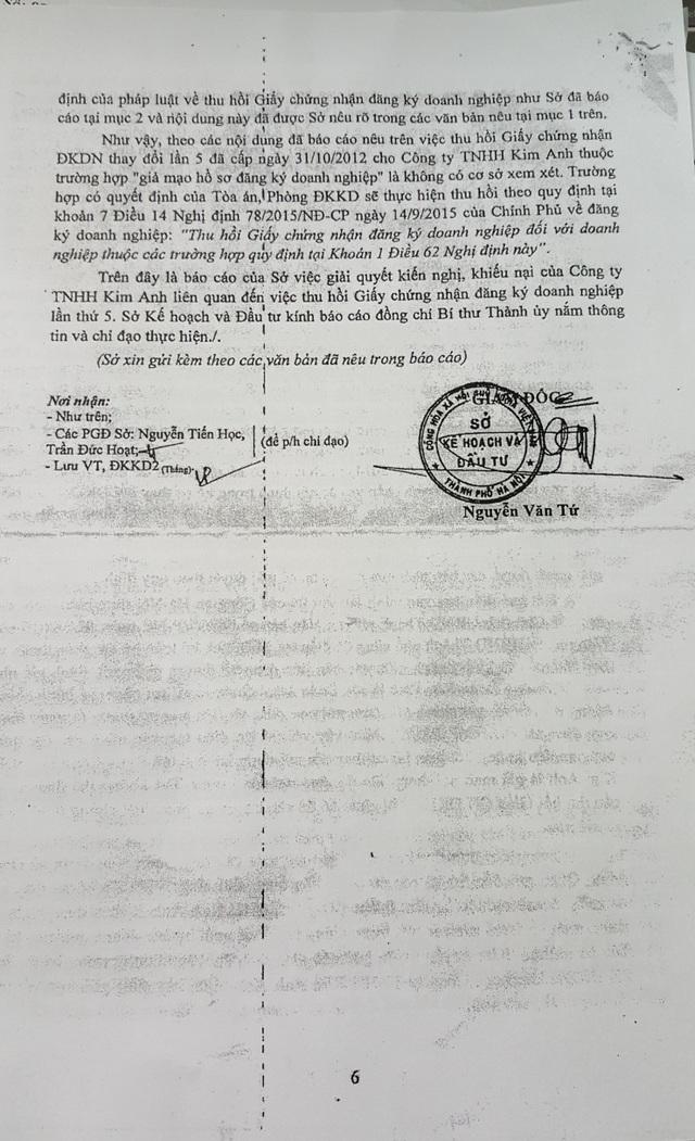 Sở Kế hoạch và Đầu tư Hà Nội khẳng định việc thu hồi Giấy chứng nhận đăng ký kinh doanh lần 5 của Công ty TNHH Kim Anh là không có cơ sở xem xét.