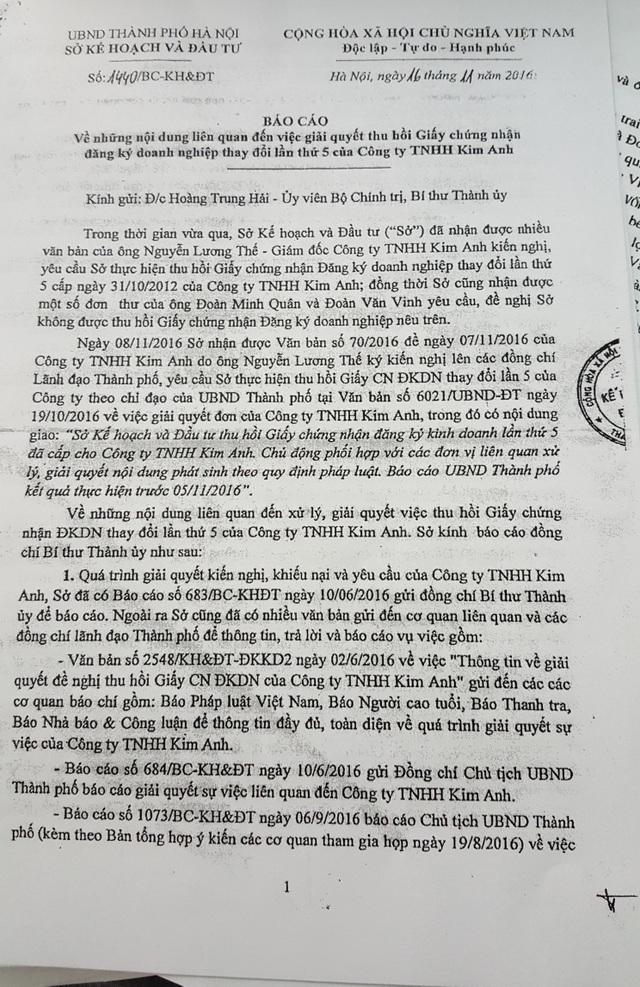 Sở Kế hoạch và Đầu tư Hà Nội báo cáo Bí thư Thành uỷ Hà Nội.