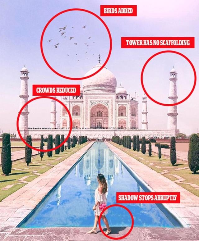 Một hình ảnh khác cũng được xem thiếu tính chân thực được cô chụp ở đền Taj Mahal, Ấn Độ. Một số người cho rằng, bức hình được photoshop quá đà, thiếu tính chính xác