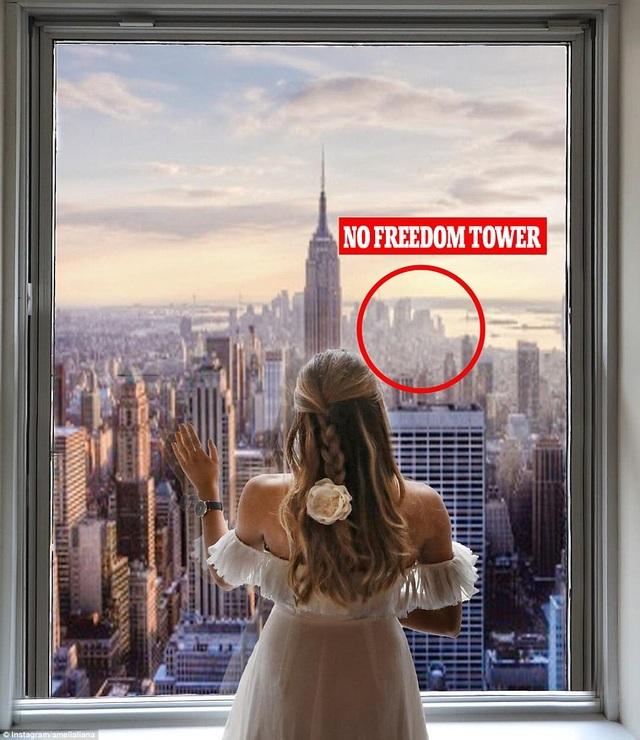 Hình ảnh trên trang cá nhân do nữ blogger đăng tải thiếu tòa tháp Tự do Freedom
