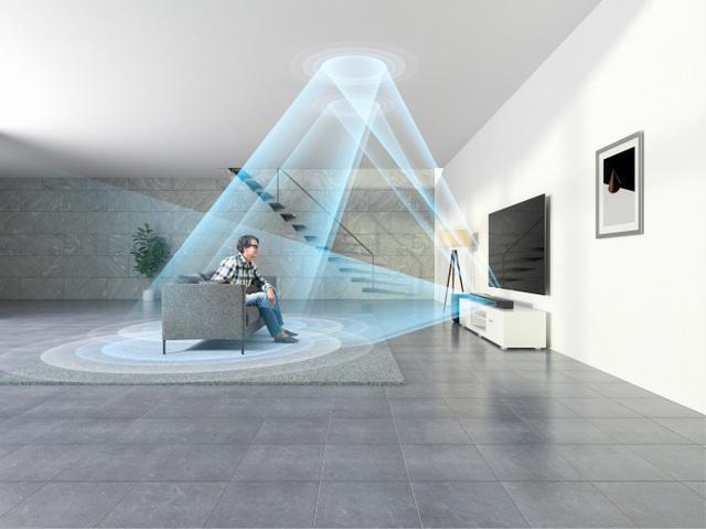 Âm thanh Dolby Atmos được Sony HT-ST5000 mô phỏng bao trùm 360 độ quanh người thưởng thức