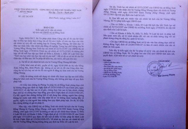 Báo cáo của Sở Tư pháp tỉnh Bình Phước về việc xử lý cải chính hộ tịch của UBND thị xã Đồng Xoài đối với trường hợp của bà Vương Hồng Nhung.