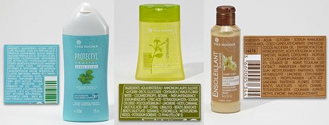 Sữa tắm Yves Rocher chứa Cyclopentasiloxane, Propylparaben, Butylparaben, BHT
