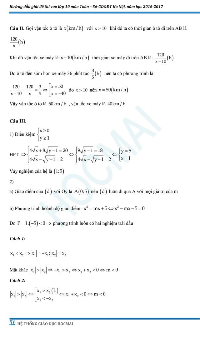 Đề thi và đáp án tham khảo môn Toán vào lớp 10 THPT của Hà Nội - 3