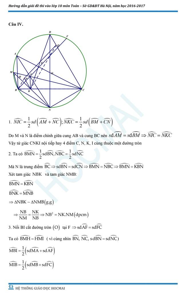 Đề thi và đáp án tham khảo môn Toán vào lớp 10 THPT của Hà Nội - 4