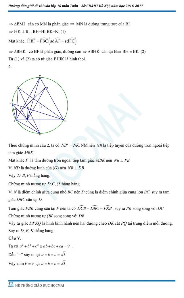 Đề thi và đáp án tham khảo môn Toán vào lớp 10 THPT của Hà Nội - 5