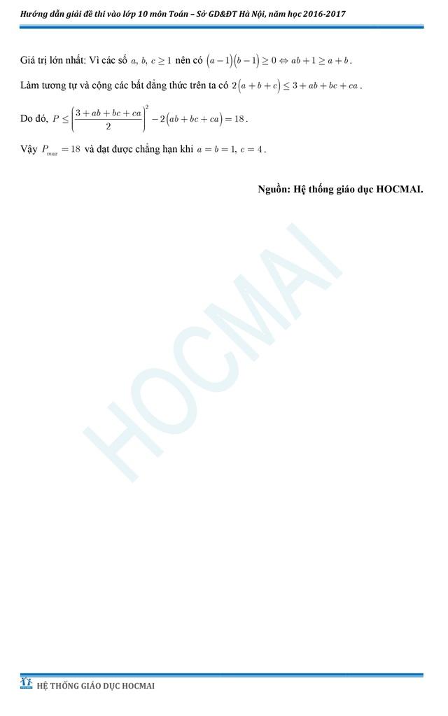 Đề thi và đáp án tham khảo môn Toán vào lớp 10 THPT của Hà Nội - 6