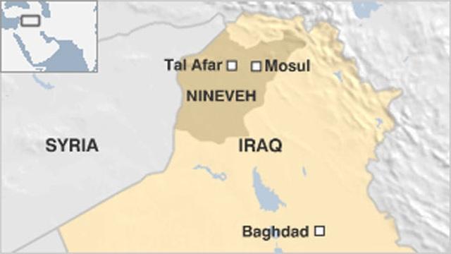 Tal Afar nằm cách thành phố Mosul khoảng 55km. Các lực lượng Iraq đã giành lại quyền kiểm soát Mosul từ tay IS một tháng trước. (Đồ họa: BBC)