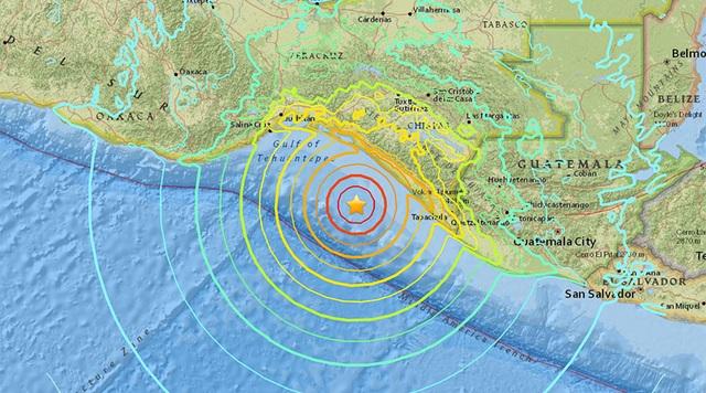 Tâm chấn của trận động đất (Ảnh: UGUS)
