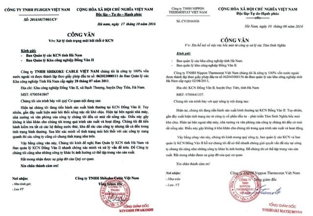 Công văn của các công ty đóng trên địa bàn Khu công nghiệp Đồng Văn II về việc yêu cầu hỗ trợ từ phía Ban quản lý Khu công nghiệp vì bãi rác hôi thối từ công ty Tâm Sinh Nghĩa.