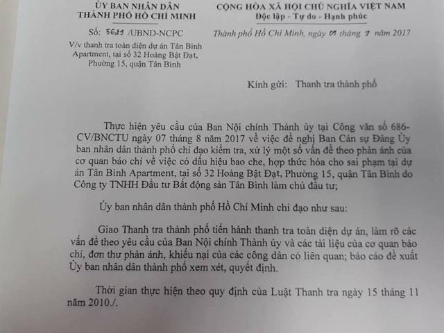 UBND TPHCM đã có văn bản số 5629/UBND – NCPC gửi Thanh tra thành phố yêu cầu thanh tra toàn diện dự án Tân Bình Apartment