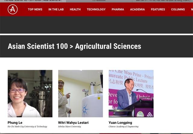 PGS.TS Lê Thị Kim Phụng được Tạp chí Asian Scientist bình chọn trong danh sách 100 nhà khoa học hàng đầu châu Á