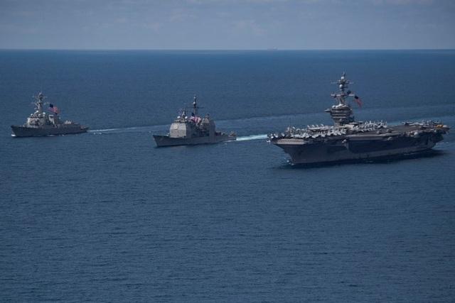 Nhóm tàu tác chiến của Mỹ. (Ảnh: Reuters)