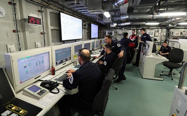 Bên trong phòng điều hành của tàu sân bay HMS Queen Elizabeth (Ảnh: PA)