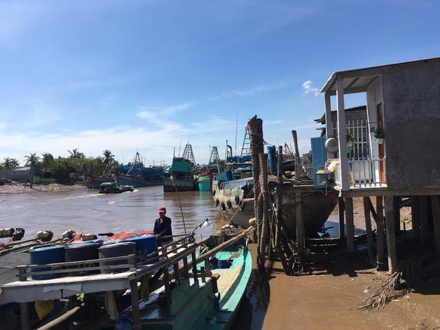 Các tàu cá ở huyện Bình Đại Bến Tre đã được di chuyển về nơi neo đậu an toàn