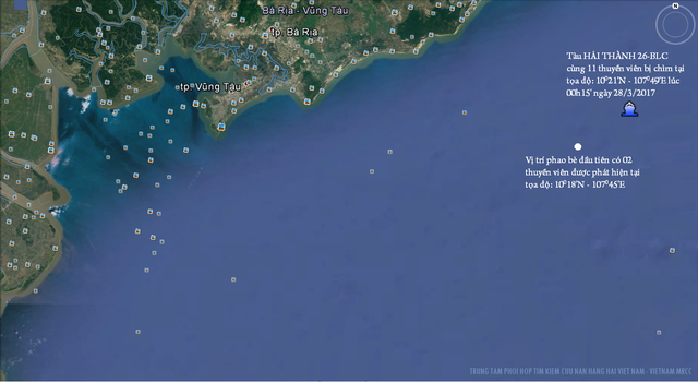 Vị trí tàu Hải Thành 26-BLC bị đâm chìm rạng sáng ngày 28/3