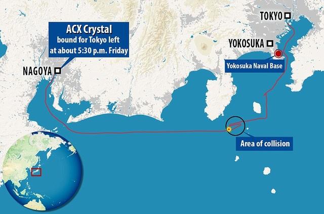 Đường đi bất thường của tàu hàng Philippines sau vụ va chạm (khoanh tròn đen). (Đồ họa: Dailymail)