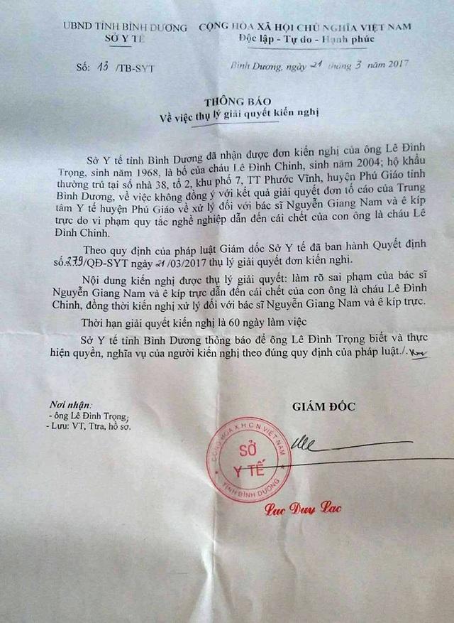 Sở Y tế tỉnh Bình Dương thông báo về việc đơn vị này chính thức tiếp nhận kiến nghị của ông Trọng.
