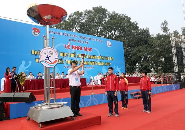 Tại buổi lễ, Thành đoàn Hà Nội đã khai mạc Đại hội Thể dục Thể thao thanh niên Thủ đô