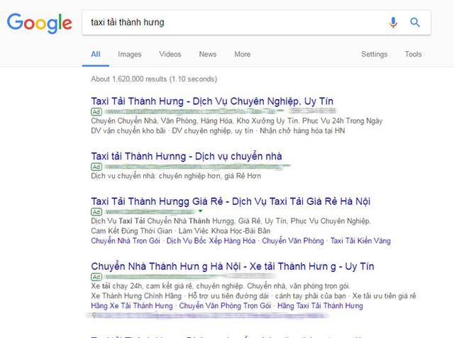 """Ảnh chụp màn hình, toàn bộ quảng cáo cho từ khóa """"taxi tải Thành Hưng"""" đều là giả mạo"""