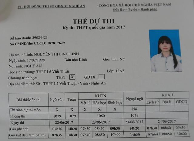 Thẻ dự thi của thí sinh Nguyễn Thị Linh Linh