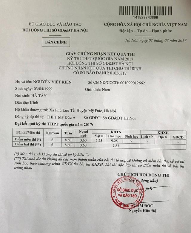 Giấy chứng nhận kết quả kì thi THPTQG 2017 của Nguyễn Viết Kiên.