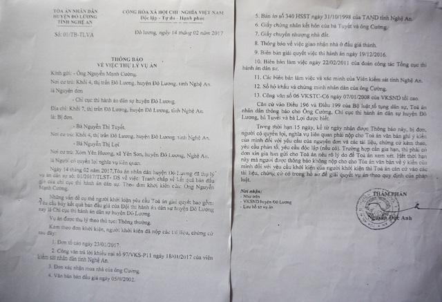 Thông báo thụ lý vụ án của TAND huyện Đô Lương về việc ông Nguyễn Mạnh Cường khởi kiện yêu cầu hủy bỏ kết quả đấu giá của Chi cục THADS huyện Đô Lương đối với thửa đất đã bán cho bà Lợi.