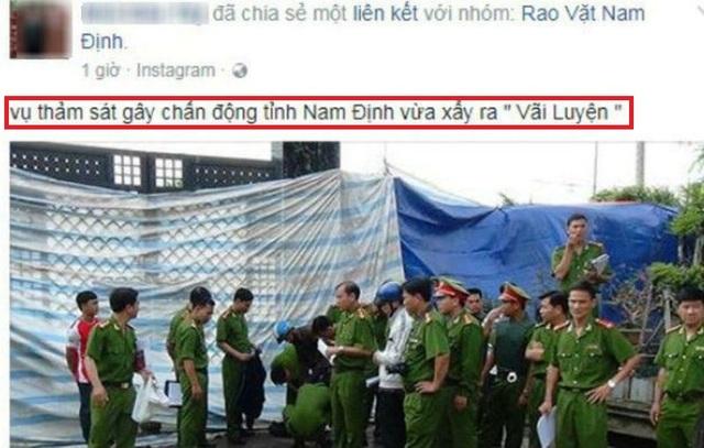 Tài khoản FB N.D.T đăng tải thông tin thất thiệt về vụ thảm sát ở Nam Định
