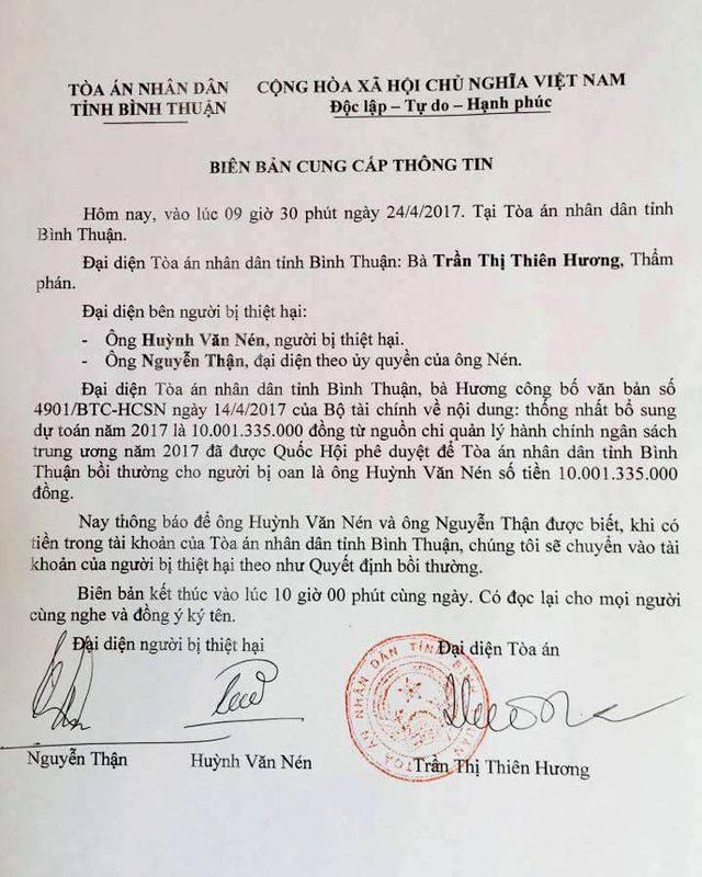 Biên bản cung cấp thông tin của TAND tỉnh Bình Thuận về việc Bộ Tài chính chi hơn 10 tỷ đồng bồi thường oan sai.