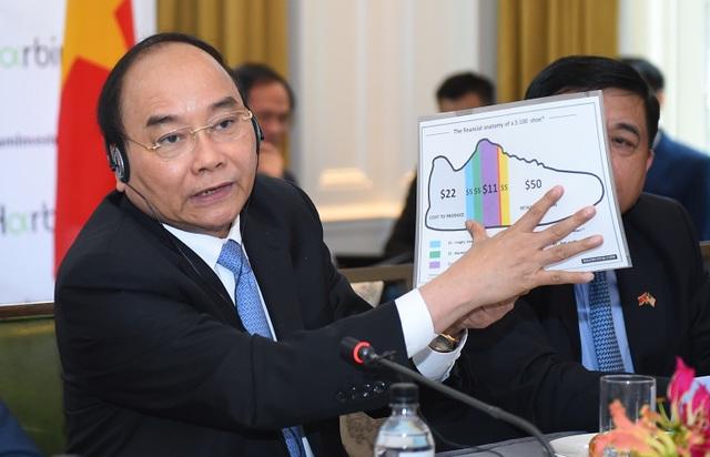 Thủ tướng Nguyễn Xuân Phúc dùng hình ảnh đôi giày để minh họa lợi nhuận của các nhà đầu tư Mỹ tại Việt Nam. (Ảnh: VGP/Quang Hiếu)