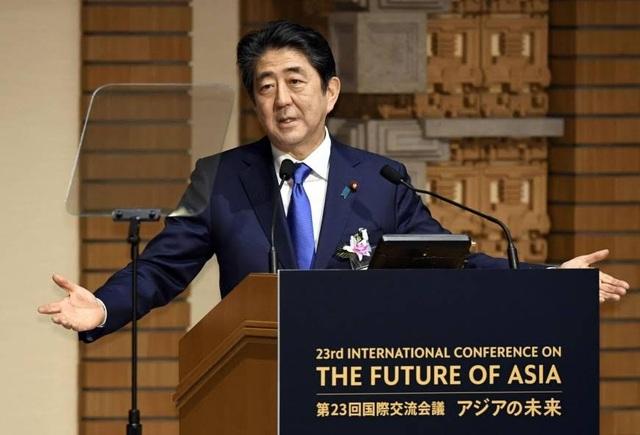 Thủ tướng Abe phát biểu tại hội nghị Tương lai châu Á tổ chức tại Tokyo ngày 5/6. (Ảnh: Kyodo)