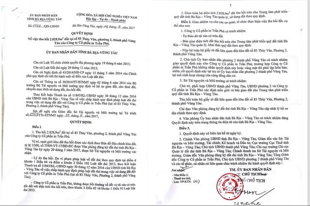 Quyết định thu hồi mảnh đất của UBND tỉnh BR-VT. Đại diện Công ty CP In Trần Phú cho rằng, tại sao UBND Tỉnh BRVT lại vội vàng ban hành quyết định thu hồi như vậy trong lúc Tòa đang thụ lý giải quyết vụ kiện hành chính.