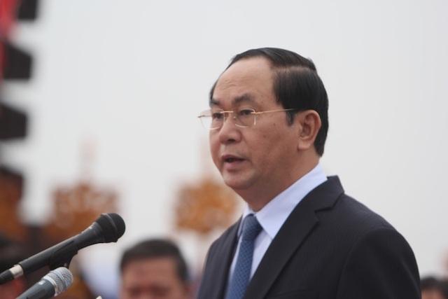 Chủ tịch nước Trần Đại Quang phát biểu tại lễ hội Tịch điền 2017