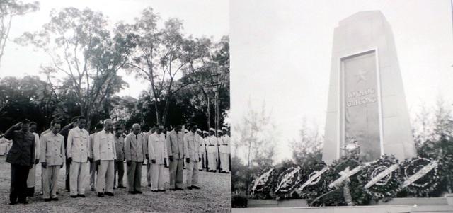 Chủ tịch Hồ Chí Minh cùng các đồng chí lãnh đạo Đảng và Nhà nước đặt vòng hoa và viếng các liệt sĩ tại Đài Liệt sĩ Hà Nội năm 1958.