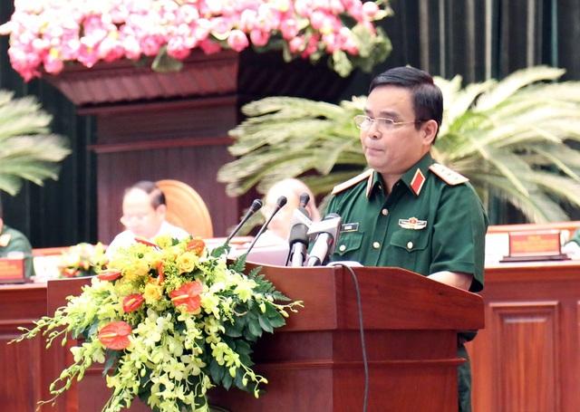 Thượng tướng Lê Chiêm - Thứ trưởng Bộ Quốc phòng phát biểu khai mạc hội thảo