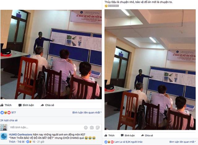 Nhiều diễn đàn sinh viên đang chia sẻ hình ảnh nam sinh xanh lét bảo vệ đồ án tốt nghiệp.