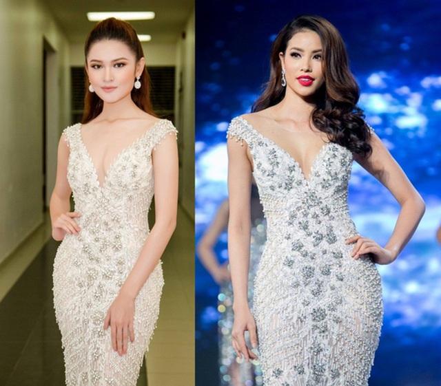 Tối 20/1, Á hậu Thuỳ Dung đảm nhận vai trò vedette trình diễn thời trang tại TPHCM. Một điều thú vị, chiếc đầm của Á hậu Thuỳ Dung trình diễn là thiết kế từng được Hoa hậu Phạm Hương diện tại chung kết The Face trước đó.