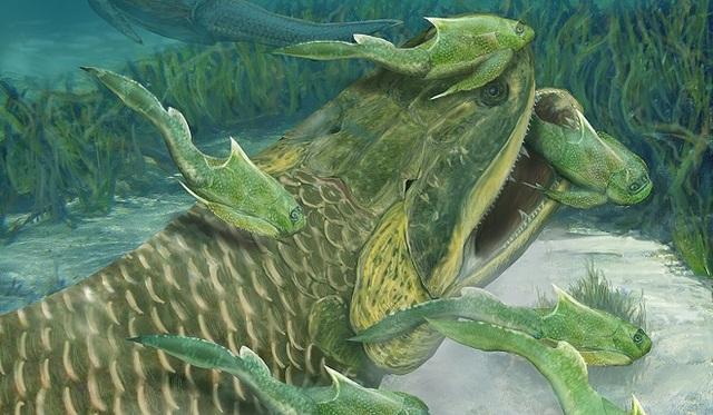 Ảnh minh họa loài thủy quái rhizodont thời tiền sử.